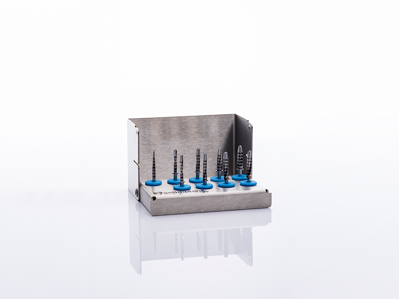 Box of special drills for implant surgeries